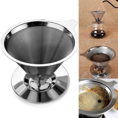 Reusable Stainless Steel Pour Over Cone Dripper Coffee Filter w Cup Stand Hot
