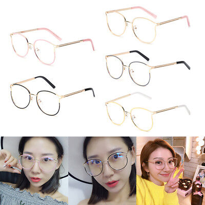 Optical Glasses Fashion Retro Cat Eye Metal Frame Clear Lens Women Men Spectacle
