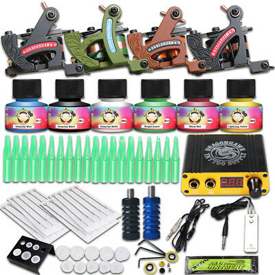 Complete Tattoo Kit 4 Machine Gun USA Color Ink Power Supply Needle HW-31GD