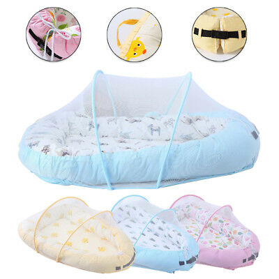 Baby Cocoon Infant Sleep Nest Reversible Coushion Bed Soft Insert Mosquito Net