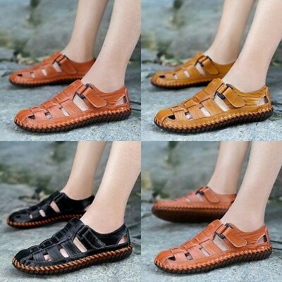 0d162b2b30ca Mens Leather Walking Touch Strap Summer Beach Mules Gladiator Sandals Shoes  Size