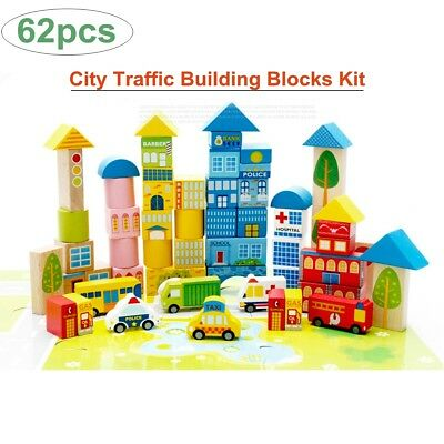 62pcs Wooden City Traffic Building Blocks Kids Educational Creative DIY Toy Gift