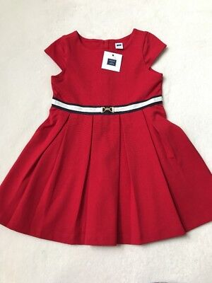 NWT Janie and Jack Pleated Ponte Dress Crimson Red Uptown Darling Girls Size 4