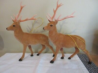 """Vintage Lot of 2~ Flocked Deer Stag Holiday Decor Large-9"""" tall Christmas"""