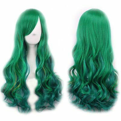 65cm Ladies Green Gradient Change Long Curly Full Wig Hair Extension Cosplay  ES
