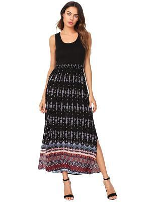 4b8b3e2d2cc Romwe Women s Summer Sleeveless High Waist Bohemian Print Split Beach Maxi  Dress
