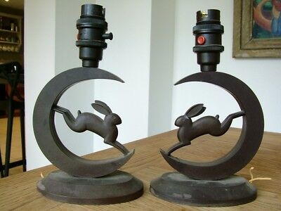 Antique Pair Of Art Deco Bakelite Side Table Lamps Light Hare & Moon Rabbit Nr