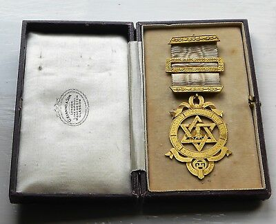 ANTIQUE c1880 VICTORIAN MASONIC ROYAL ARCH COMP JEWEL with SILVER BARS BOXED