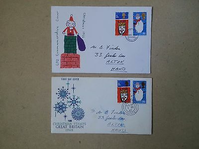 2 x GB FIRST DAY COVER - CHRISTMAS 1966