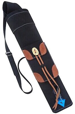 Black Suede Back Side Quiver With front Pocket Archery Products AQ175.