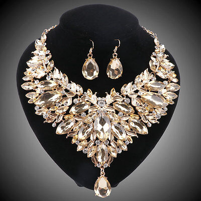 Women Gold Plated Champagne Rhinestone Crystal Necklace Earring Jewelry Sets