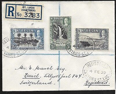 St. Lucia 1939, Geo V, 6 val. on two covers Switzerland, 1x registered SG 113-18