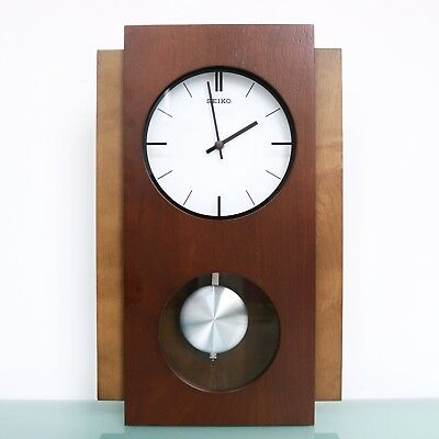 SEIKO Wall OR Mantel Clock SLIMLINE TOP DESIGN! QX217BN Vintage Moving Pendulum!