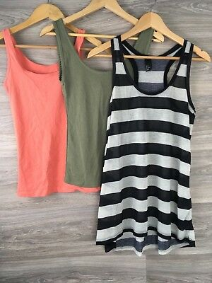 New Look H&M Atmosphere Vest Top Bundle Green Pink Black White Size 8 6022