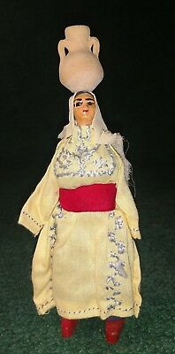 """Vtg 7.75"""" Lady Holding Pot On Head hand Carved Wood wooden covered Woman"""