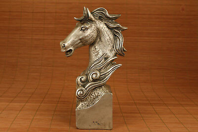 Big Rare Antique 20th chinese Tibet Silver Hand Carved Horse Statue Figure
