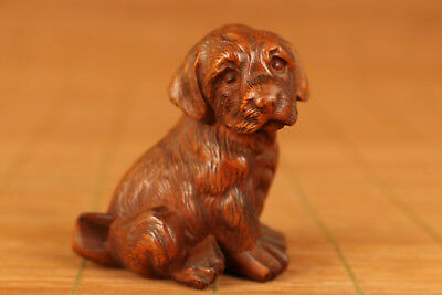 cOLLECTABLE chinese Old Boxwood Hand Carved Dog Statue Netsuke