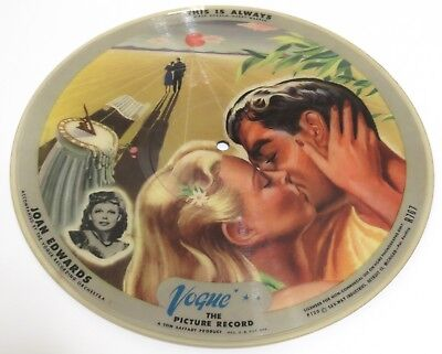 Vintage 1947 Joan Edwards Vogue The Picture Record, Picture Disk. This is Always