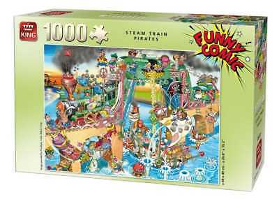 Funny Comic Collection 1000 Piece Steam Train Pirates Ship Battle Jigsaw Puzzle