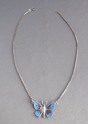 Vintage Italy Sterling Box Chain Guilloche Butterfly Choker Necklace