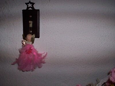 Vintage  Hanging Christmas  Angel  Pink Feather Body Cardboard Cone Underneath