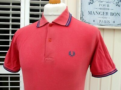 Fred Perry M1200 Red Twin Tipped Pique Polo - S/M - Ska Mod Scooter Vintage 90's