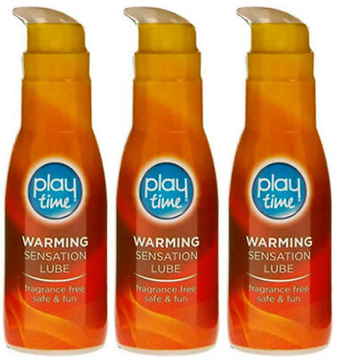 PlayTime Water Based Lube Intimate Lubricant WARMING SENSATION 75ml X3 TRIPLE PK