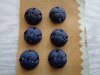 Carded Lot Of 6 Nos Navy Designed Plastic Buttons-Must See!