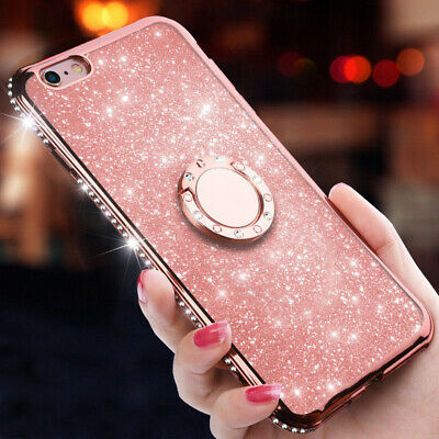 Luxury Bling Diamond Ring Holder Stand TPU Case Cover For iPhone XS Max 7 8 6s