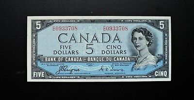 1954 BANK OF CANADA $5 DOLLARS DEVIL'S FACE **Coyne & Towers** RARE C/C Prefix