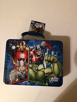Avengers lunch box tin metal carry all THOR HULK CAPTAIN AMERICA IRON MAN NEW
