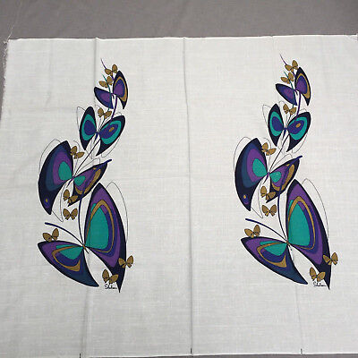 Alfred Shaheen Vintage Hawaiian Butterfly Fabric Panel Blue Purple Gold 44 x 54