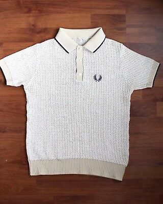 Vintage Fred Perry Knitted Polo Shirt 60s Cream Small Waffle, Mod, Punk Skinhead