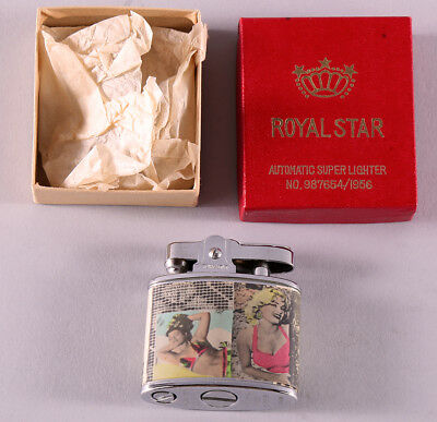 Rare 1956 Mint In Box Unused Bettie Page Royal Star Pin-up Girl Adorned Lighter