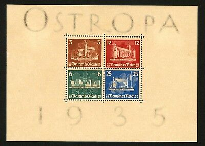 1935 Germany Stamp Scott #B68 Ostropa Souvenir Sheet, MINT, Lightly Hinged og