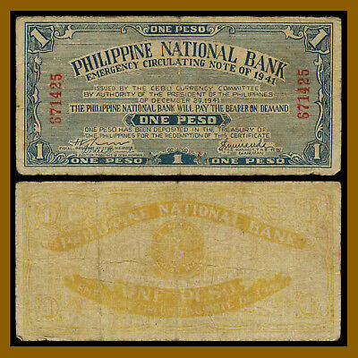 Philippines 1 Peso, 1941 P-S215 Emergency Circulated Note Issue Circulated