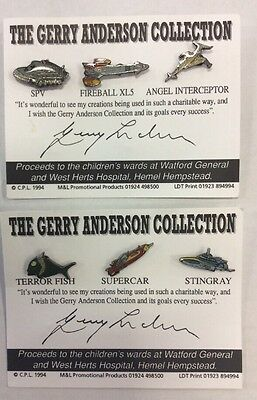 Gerry Anderson Collection Fanderson Pin Collection Set Of 6 Thunderbirds Rare