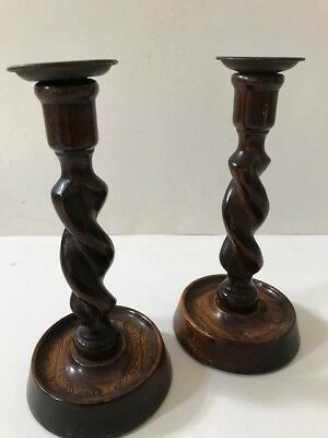 Pair Of Vintage Art Deco Period Oak Brass Topped Double Barley Twist Stem Candle