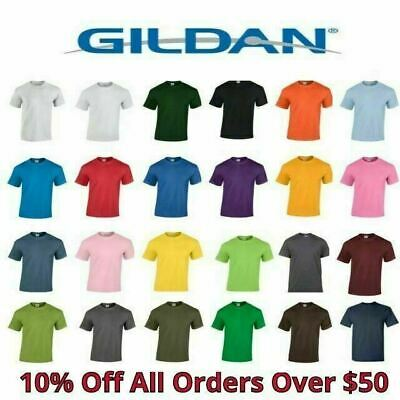 fb4c3921 Gildan Mens T Shirts 5000 Solid Heavyweight Cotton Short Sleeve Blank Tee  S-3XL