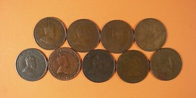 9 Canadian Large Cents 1902 - 1910 - Good To Fine+