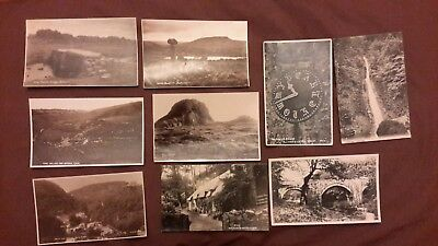 9 x Old postcards of Devon - Cottages + Church Clock Buckland-in-the-Moor, Taw V