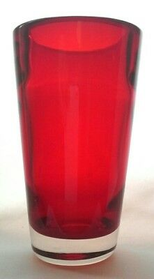 Vintage Whitefriars Glass Ruby Red Flared Optic Ribbed Vase - Baxter 9584