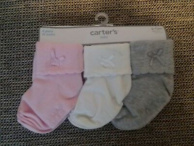 Carters Cute Dress Baby Socks 6 pairs NWT Size 0 to 12 months