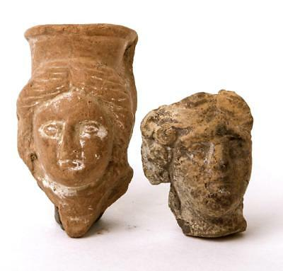 A Pair of Greek terracotta Heads Circa 5th Century BC.