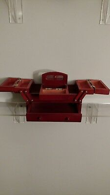 Vintage sewing box wood accordion style cherry colored sturdy hinges no writing!