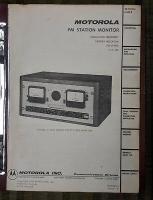 1960's Procedures Manual Booklet ~ Motorola FM Station Monitor ~ Model T1130A !