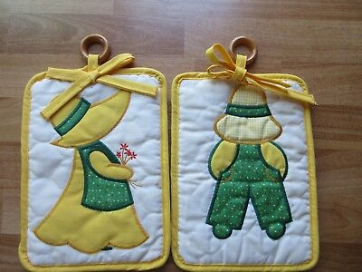 2 Vintage HOLLY HOBBIE Quilted Large Pot Trivet Holders Wall Decor Collectible
