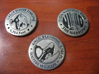 """NEW LOT (3) National Parks Service 1"""" Tokens ZION metal collectible medal coin"""