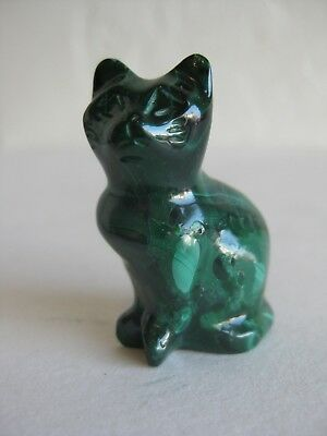 Fine Old Chinese Natural Malachite Cat Carving Sculpture Figurine 26 Grams