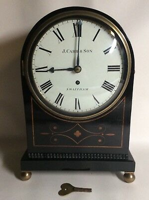 Early 19th Century Arch Top Ebonized Bracket Clock signed J Carr and Son Fusee